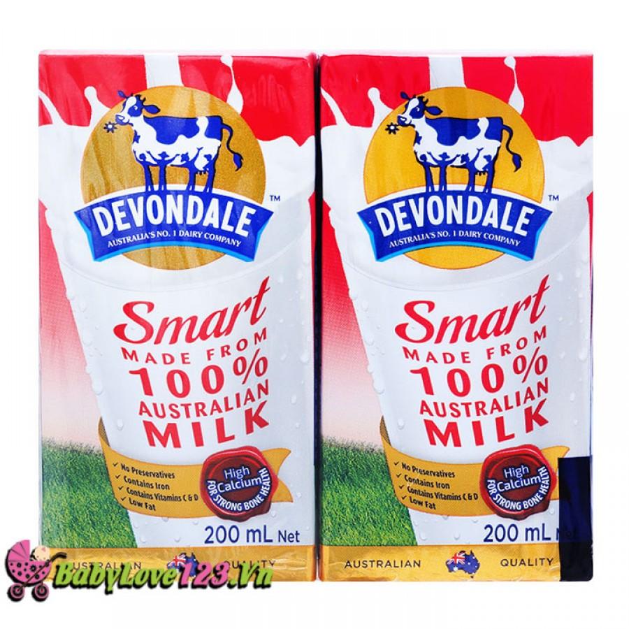 Sữa tươi  Devondale Smart 200ml (đỏ) 1 thùng 24 hộp cho trẻ từ 2 tuổi trở lên