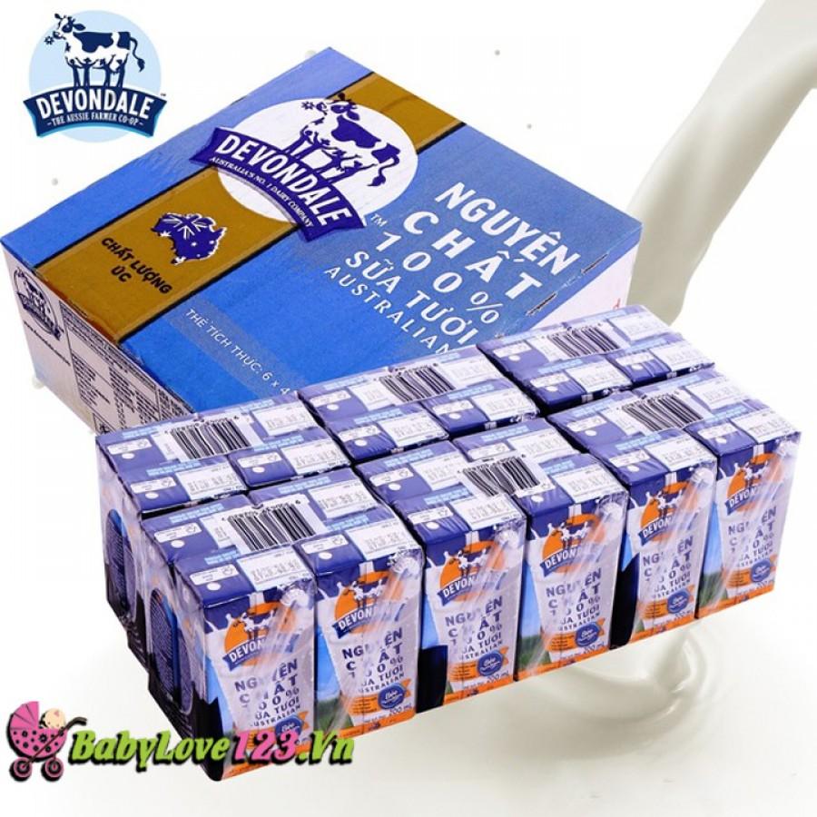 Sữa tươi nguyên chất Devondale 200ml (xanh) 1 thùng 24 hộp cho trẻ từ 2 tuổi trở lên [ date tháng 3/201019]