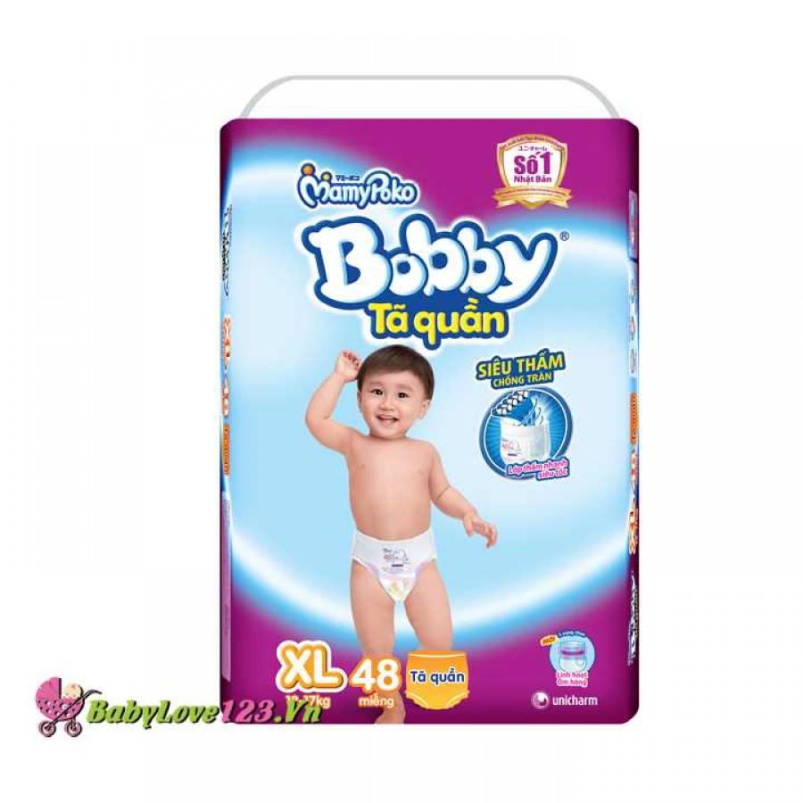 Tã quần Bobby XL48 cho trẻ 12 - 17 kg ( Size XL - 48 miếng)