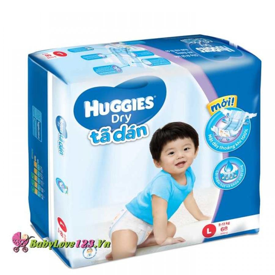 TÃ DÁN HUGGIES L68 cho bé 8 - 13kg (Size L - 68 miếng)