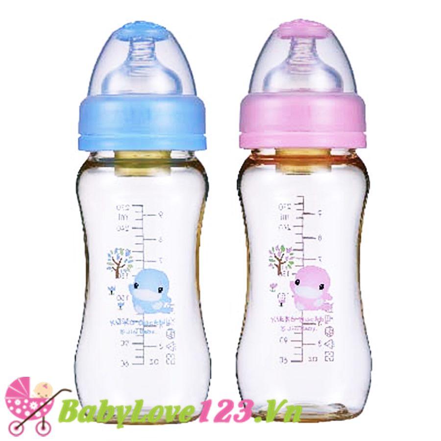 Bình sữa Kuku nhựa PES cổ rộng 280ml KU5827