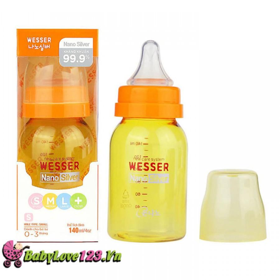 Bình sữa Wesser  nano silver cổ nhỏ 140ml