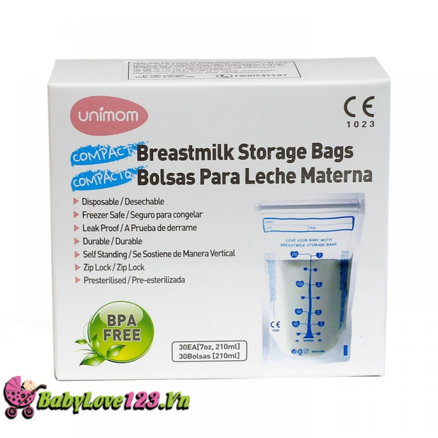 Túi trữ sữa Unimom Compact BPA Free 210ml (30 túi)