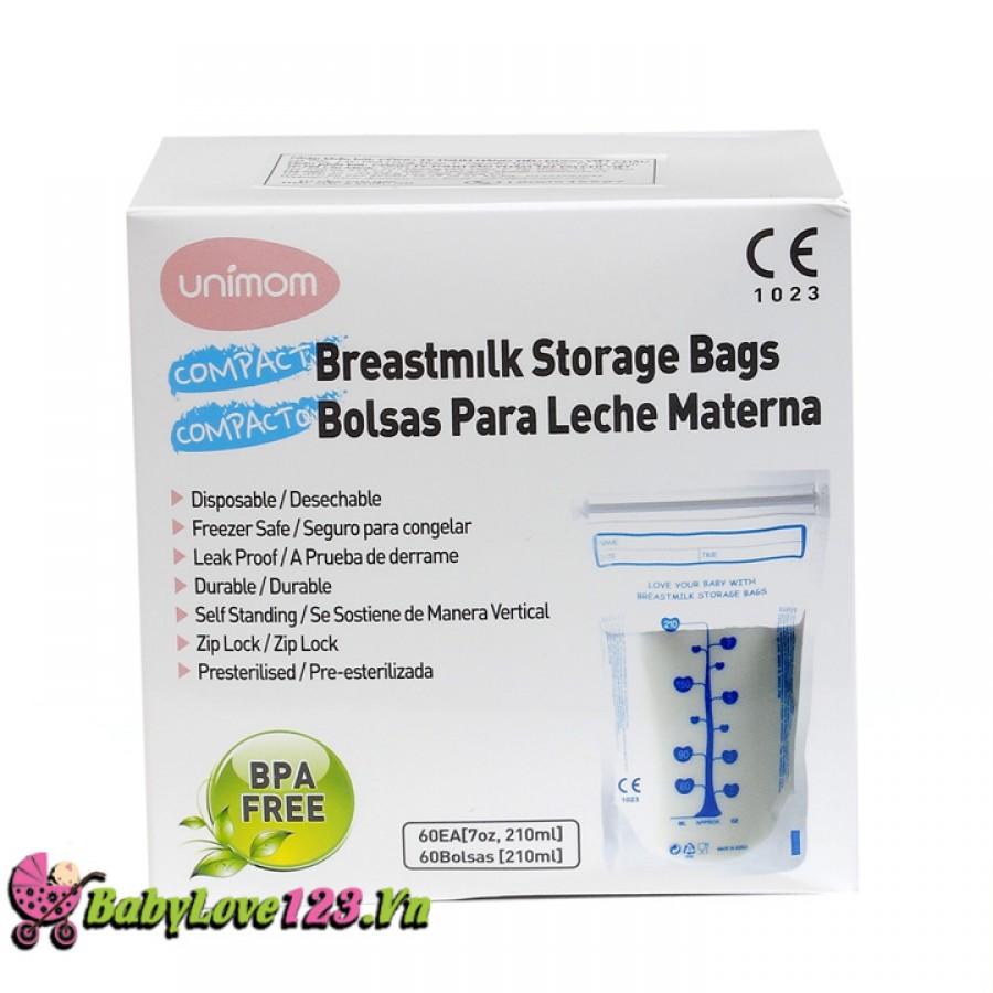 Túi trữ sữa Unimom Compact không BPA 210ml (60 túi)