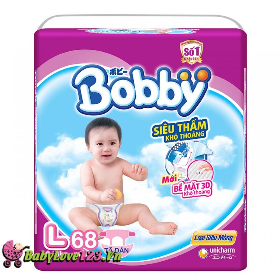 BỈM - TÃ DÁN BOBBY SIZE L - 68 MIẾNG (TRẺ 9 - 13KG)