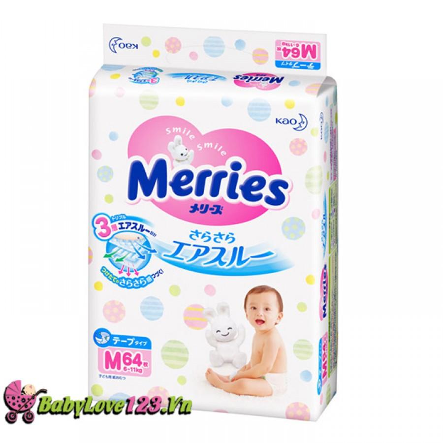 Tã dán Merries size M64 miếng cho bé từ 6 -11 kg