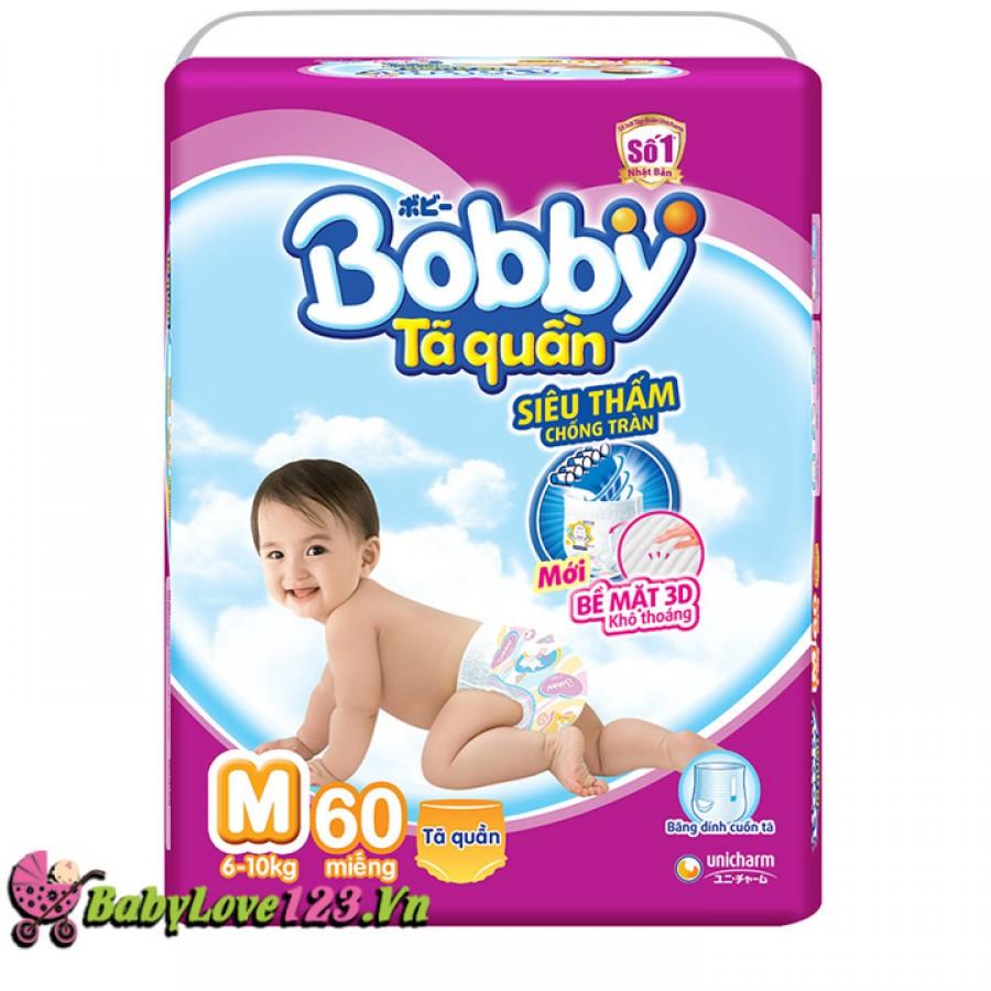 Tã quần Bobby Fresh M60 cho trẻ 6 - 10kg (Size M - 60 miếng)