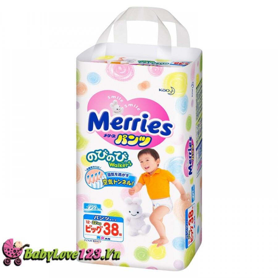 Tã quần Merries size  XL38 miếng cho bé từ 12 - 22 kg