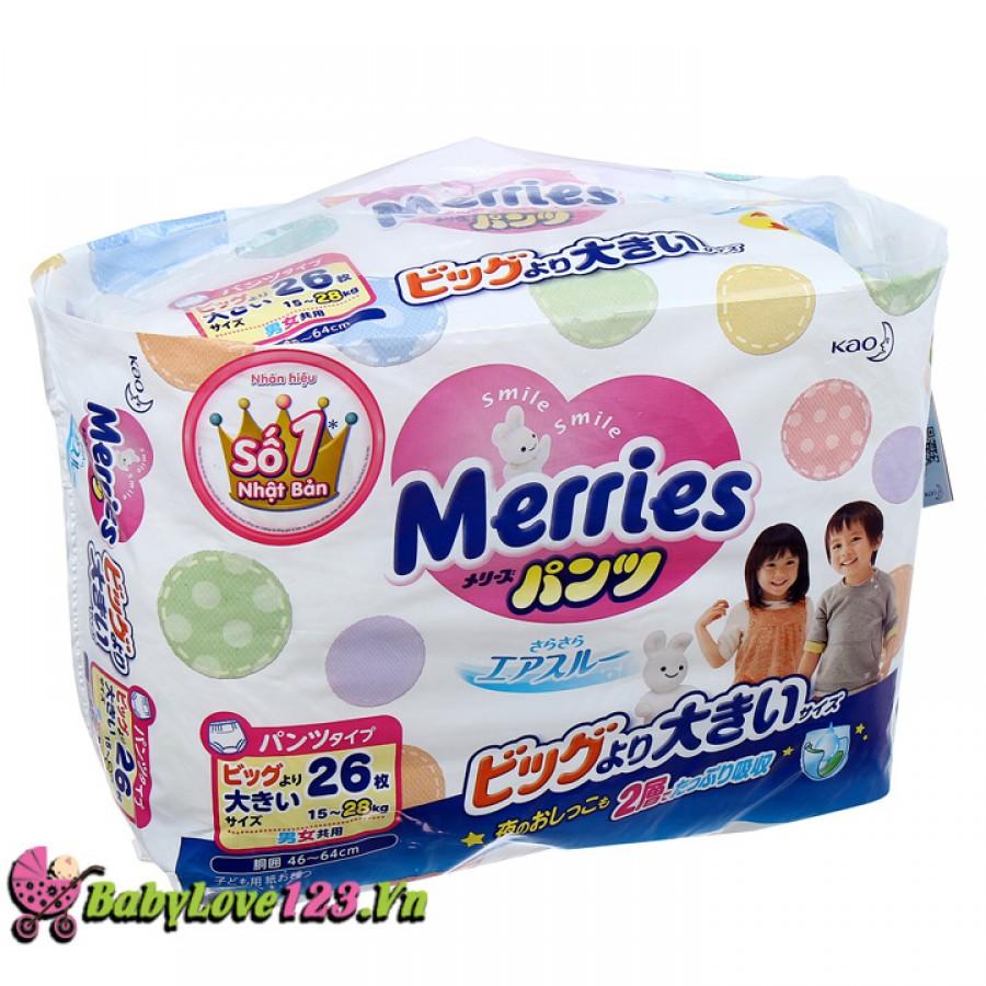 Tã quần Merries size XXL26 miếng cho bé từ 15 - 28 kg