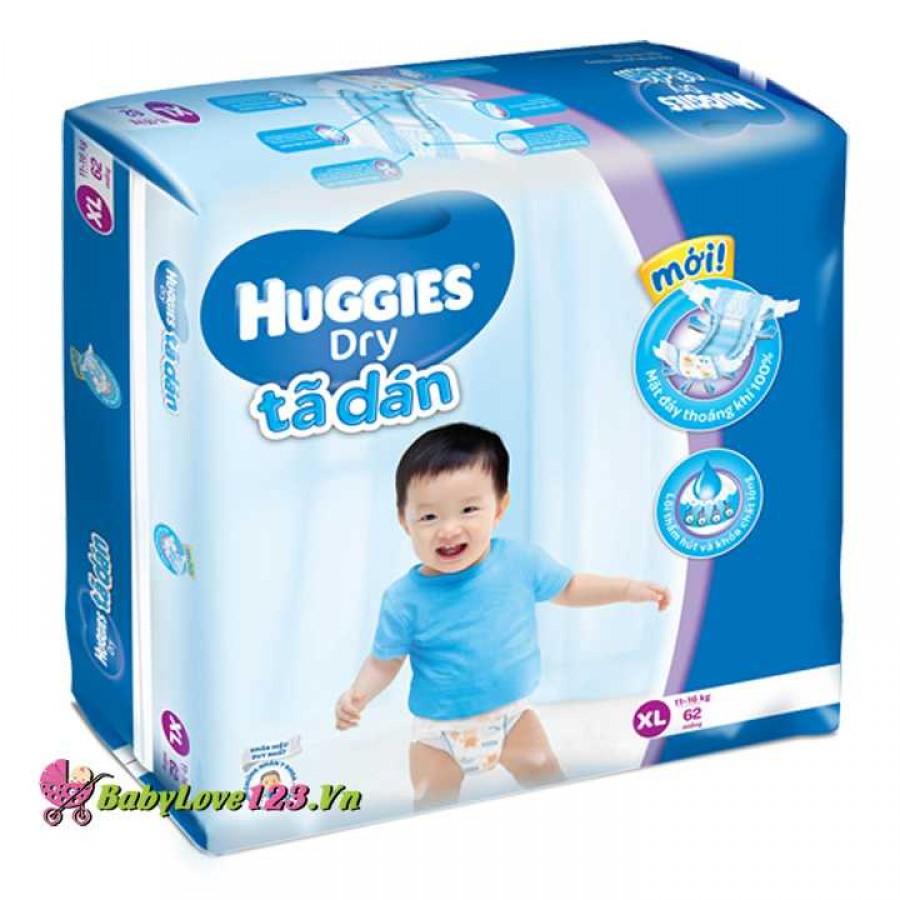 Tã dán Huggies Dry XL62 cho trẻ 11 - 16kg (Size XL - 62 miếng)