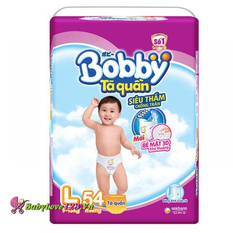 Tã quần Bobby Pants  size L 54 miếng cho bé 9 - 13 kg