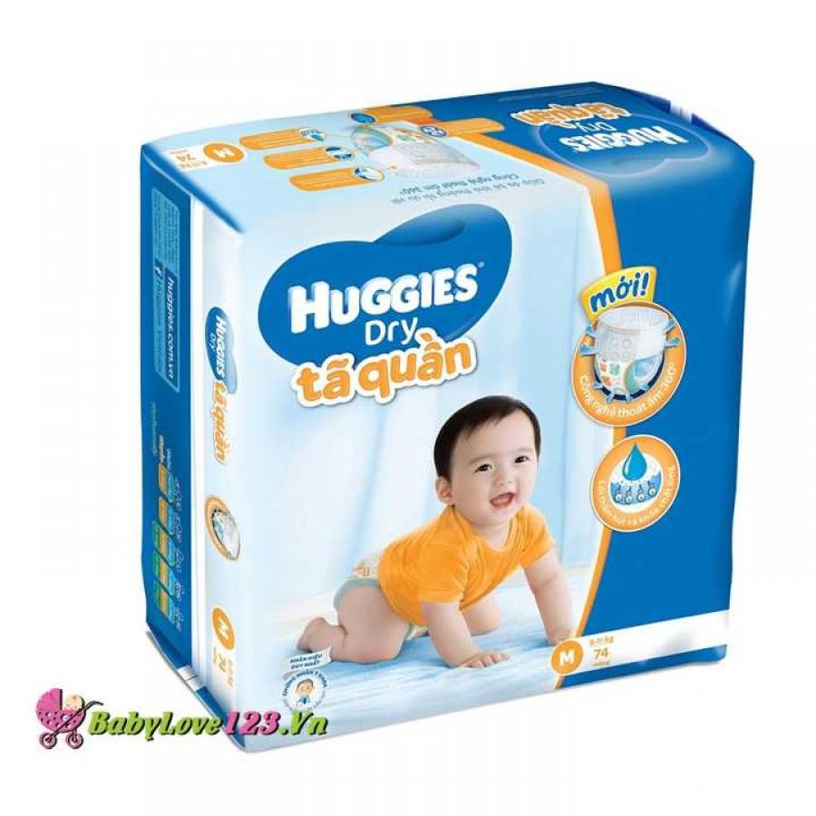 Tã quần Huggies Dry size M 74 miếng cho bé